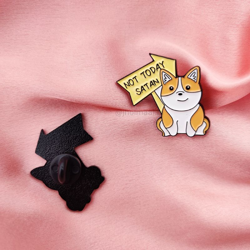 Not Today Satan Lapel Pin Badge
