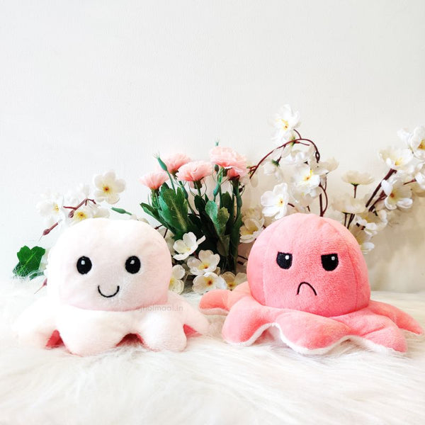 Reversible Plushie Octopus Happy Angry