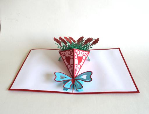 3D Rose V Bouquet Popup Card (Greeting Card)The Jholmaal Store