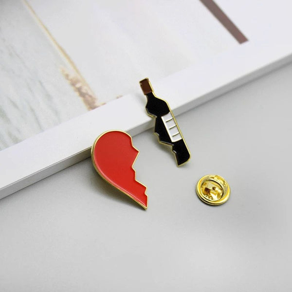 Wine & Broken Heart Lapel Pin Brooch
