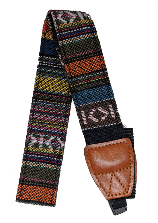 Camera Strap, Multi-color Pattern with Brown Leather - Probst Camera Inc.