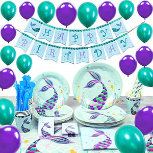 Birthday Them Party Supplies with Plates Cups Straws Tablecover for Birthday Party Serve 16 Guests