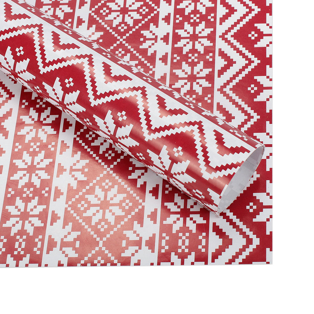 Christmas Sweater Pattern.Red Christmas Sweater Pattern Wrapping Paper Pkg 2
