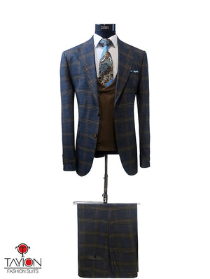 Open image in slideshow, Blue/Brown Windowpane w/Brown Vest - Size 40