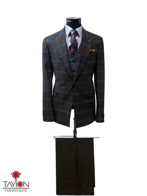 Open image in slideshow, Brown/Blue Windowpane w/Blue Vest - Size 40