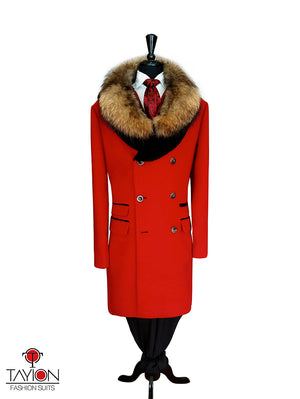 Open image in slideshow, Red Cashmere Coat w/Fur Collar