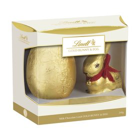 Lindt Gold Bunny and Egg  Gift Box Hand Gift Wrapped in Cello
