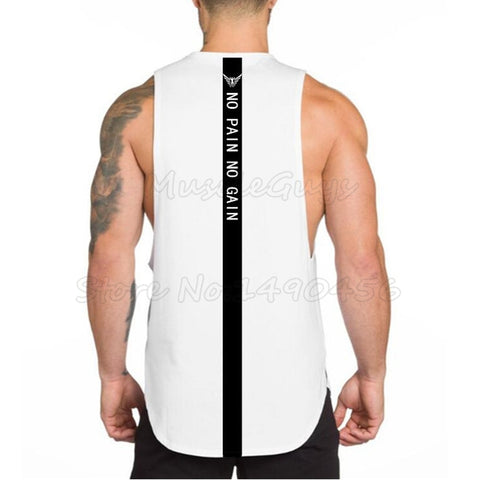 NO PAIN NO GAIN Singlet (White)