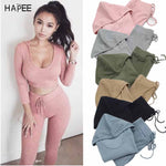 Crop Top Hoodies High Waist Elastic Pant Sport Suit (Pink) - shoppe-aesthetics