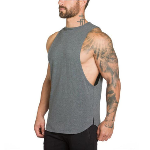 Stringers Mens Singlet Tank Top (Grey) - shoppe-aesthetics