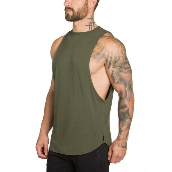 Stringers Mens Singlet Tank Top (Army Green) - shoppe-aesthetics
