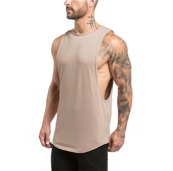Stringers Mens Singlet Tank Top (Khaki) - shoppe-aesthetics