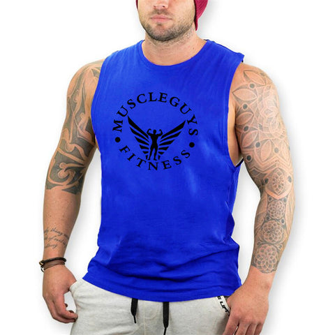 Muscle Guy Fitness Sleeveless T-Shirt (Blue) - shoppe-aesthetics