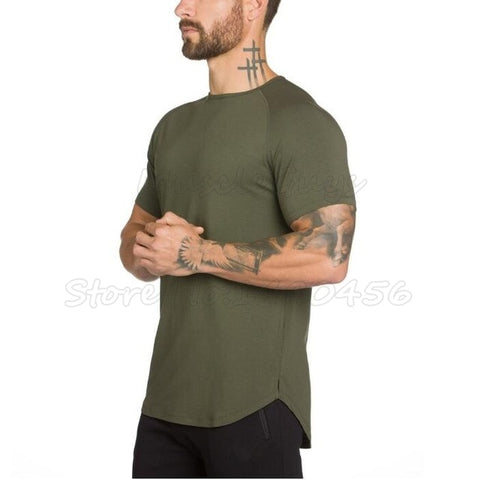 Men's Essential Extended Tee (Army Green) - shoppe-aesthetics