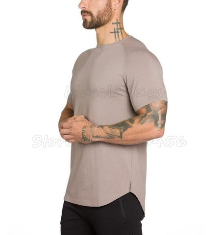 Men's Essential Extended Tee (Khaki) - shoppe-aesthetics