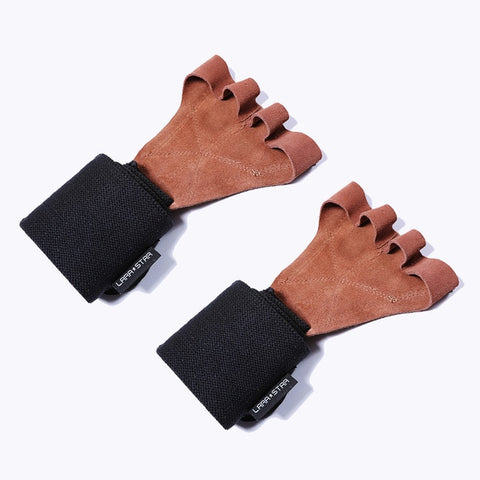 Leather Weight Lifting Gloves with Wrist Wraps - shoppe-aesthetics
