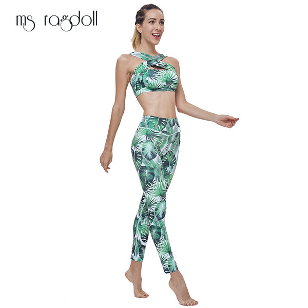 Floral Printed Sports Suit (Green) - shoppe-aesthetics