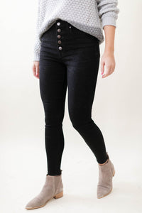 Black Button Fly Skinny Jeans