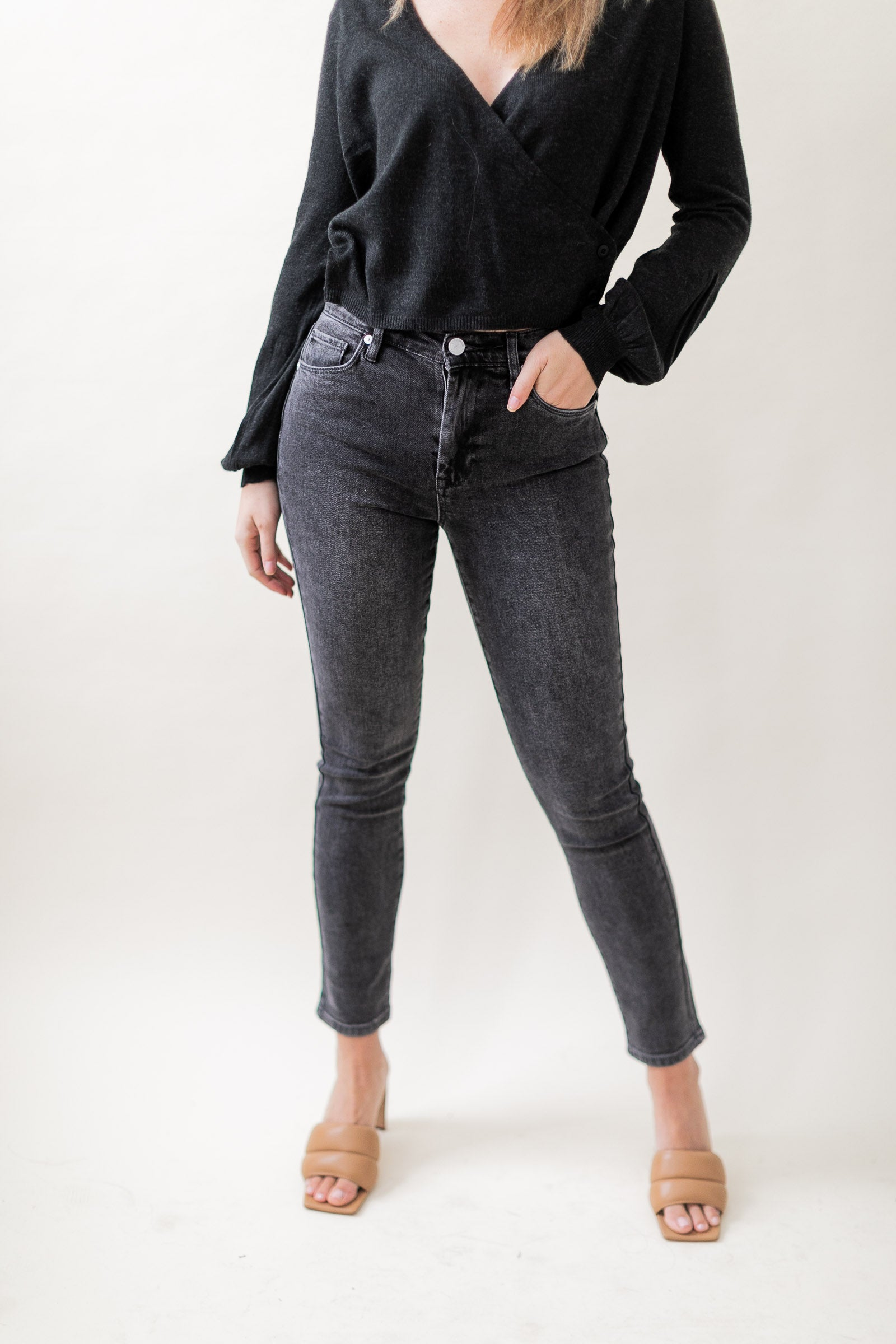 Black Wash Straight Leg Jeans