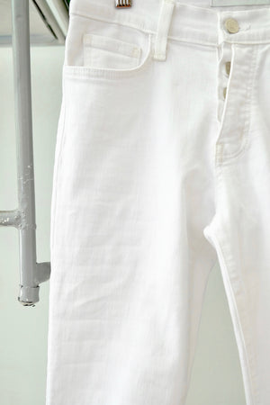 Button Fly White Mid Rise Jeans