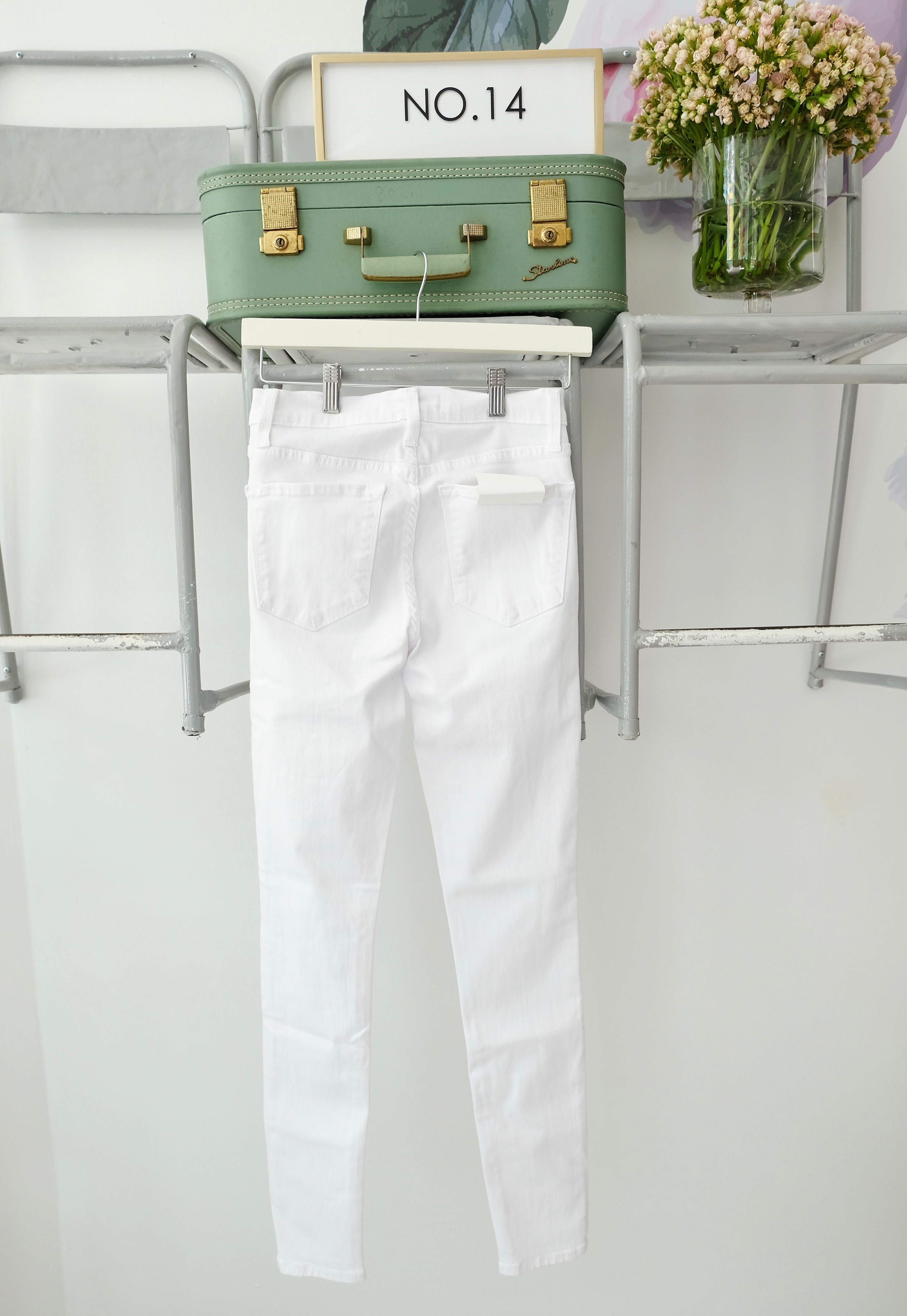 High Waist White Skinnies