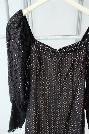 Black Eyelet Puff Sleeve Dress