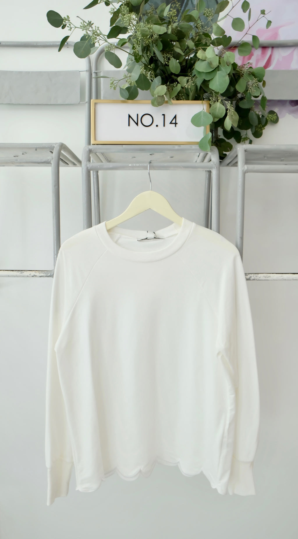 White Scallop Hem Top