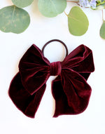 Load image into Gallery viewer, Velvet Bow Hair Tie