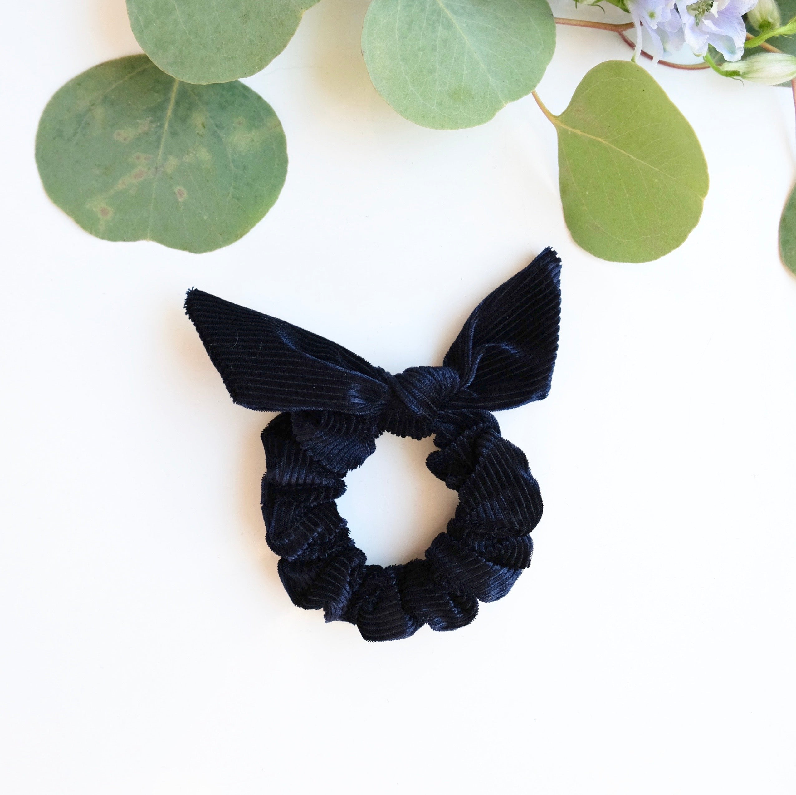 Pleated Velvet Bow Scrunchies