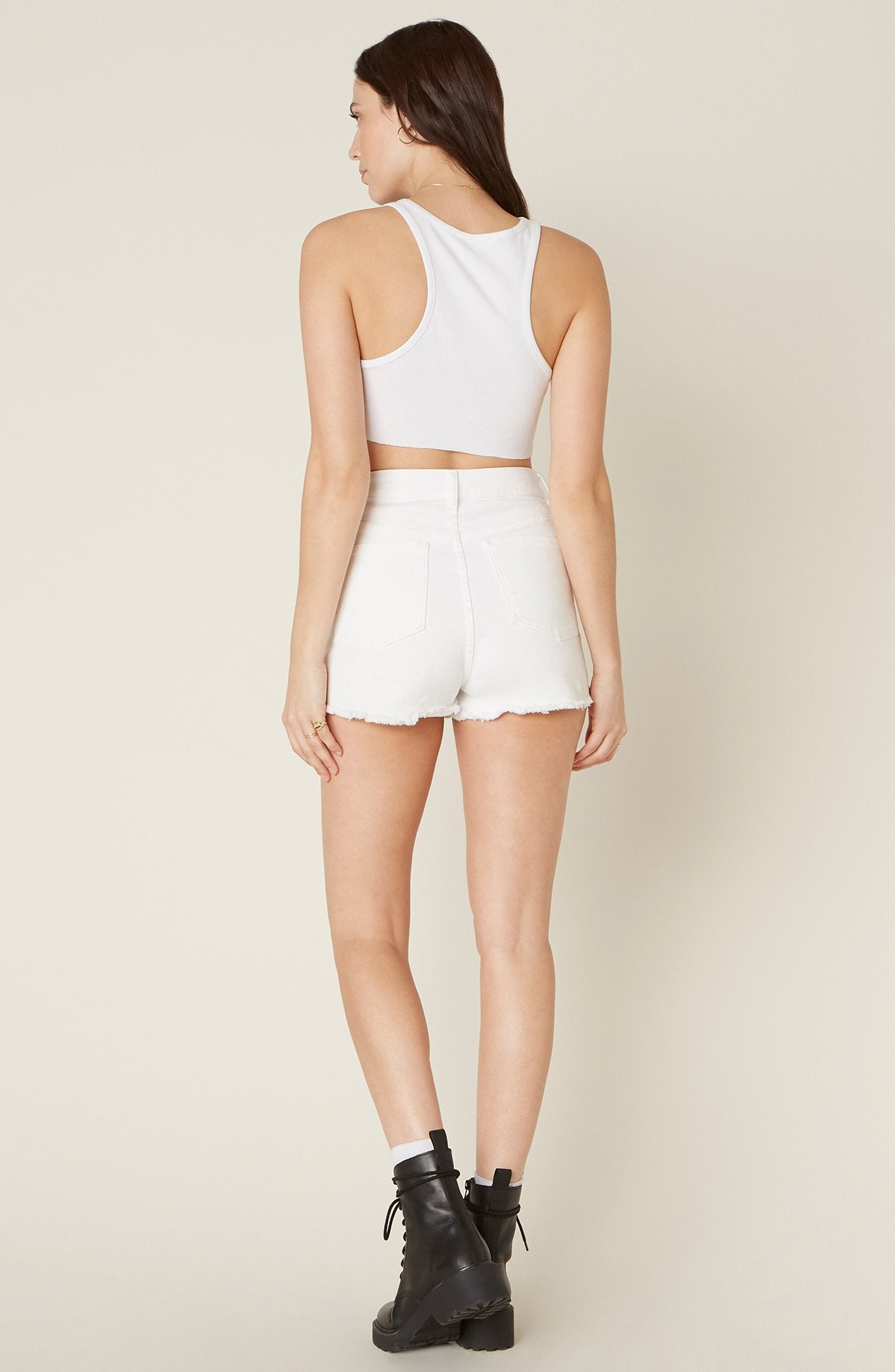 Button Fly Hi Rise Shorts