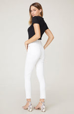 Load image into Gallery viewer, Raw Hem White Button Down Skinnies