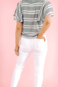 Raw Hem White Button Down Skinnies