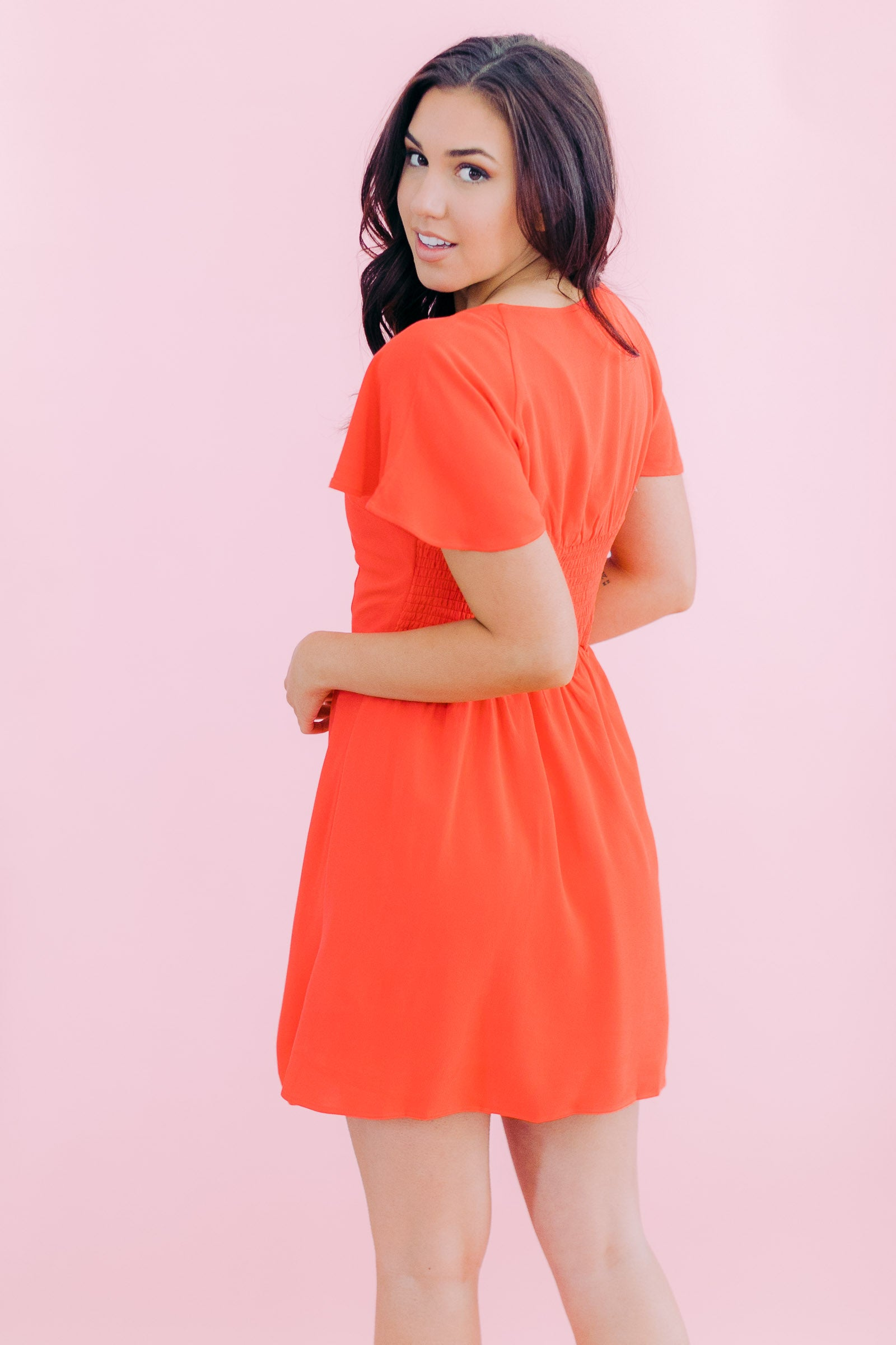 Fit & Flare Button Front Dress