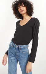 Load image into Gallery viewer, Morgan V Neck Puff Slv Tee