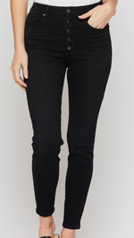 Load image into Gallery viewer, Black Button Fly Skinny Jeans