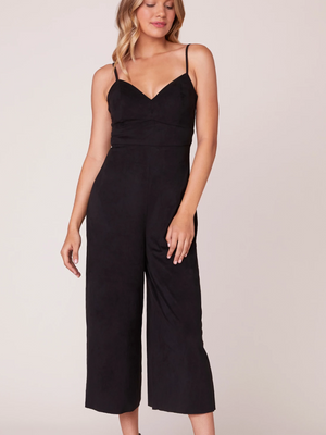 Black Suede V Neck Jumpsuit