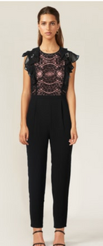 Load image into Gallery viewer, Ruffle & Lace Top Jumpsuit
