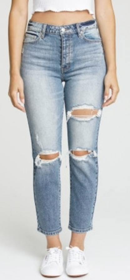 High Rise Distressed Mom Jeans