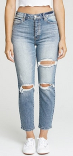 Load image into Gallery viewer, High Rise Distressed Mom Jeans