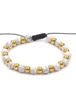 Load image into Gallery viewer, White Marble Pull & Tie Bracelet
