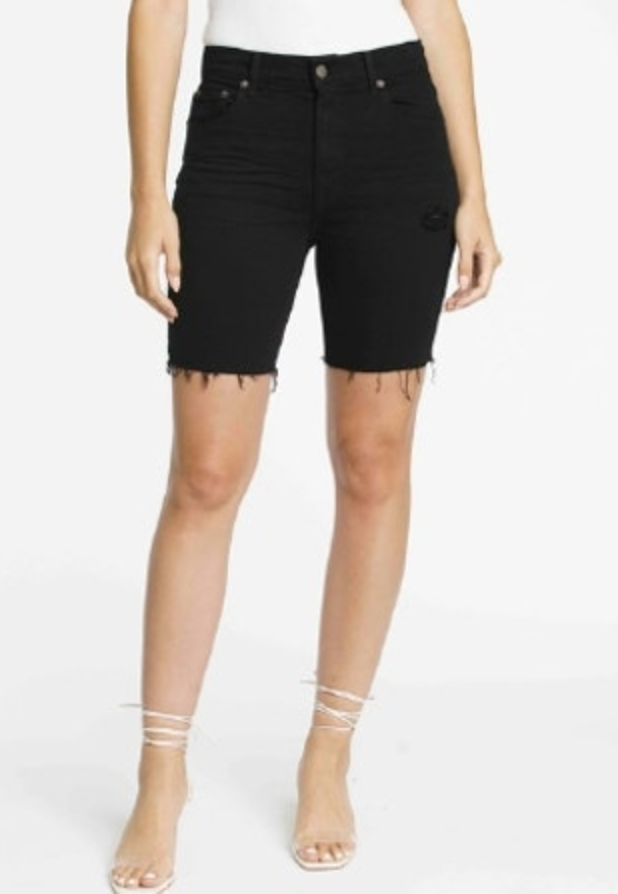 Black Denim Biker Shorts