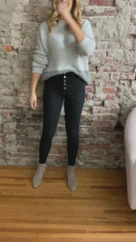 Load and play video in Gallery viewer, Black Button Fly Skinny Jeans