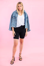 Load image into Gallery viewer, Black Denim Biker Shorts