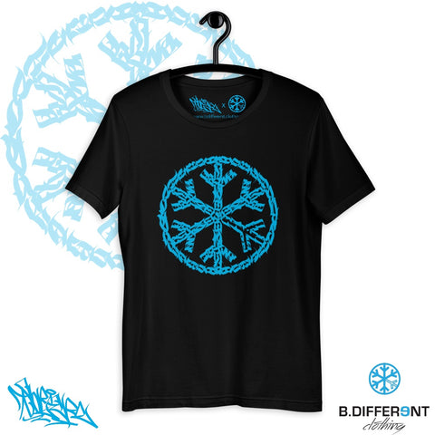 T-shirt sober snowflake tee bdifferent clothing independent streetwear street art graffiti limited collab black