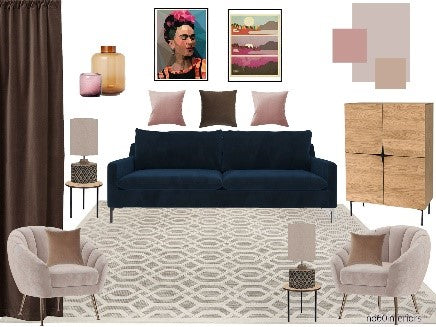 boden, blush pink, velvet, sideboard, rug, occasional chair
