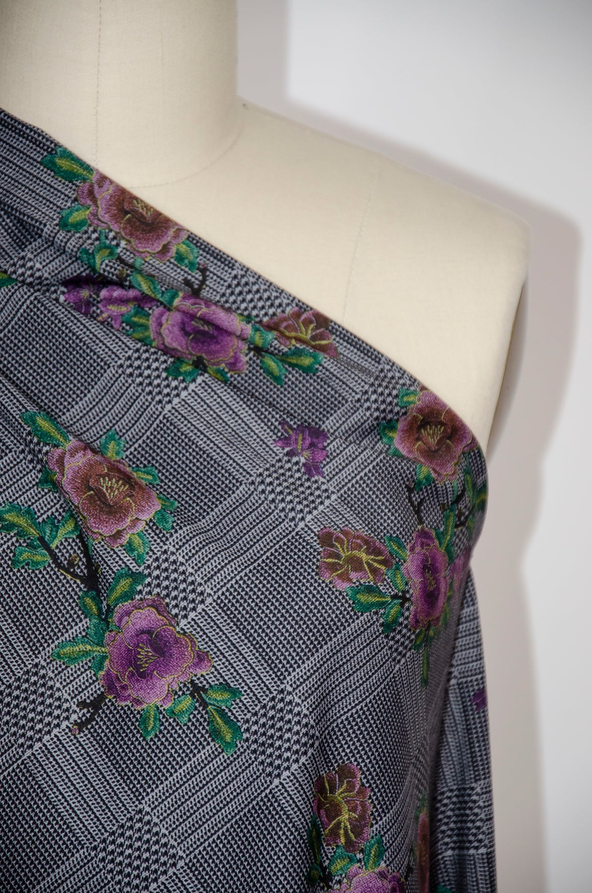 Ponte Print Knit - Grey Purple Floral