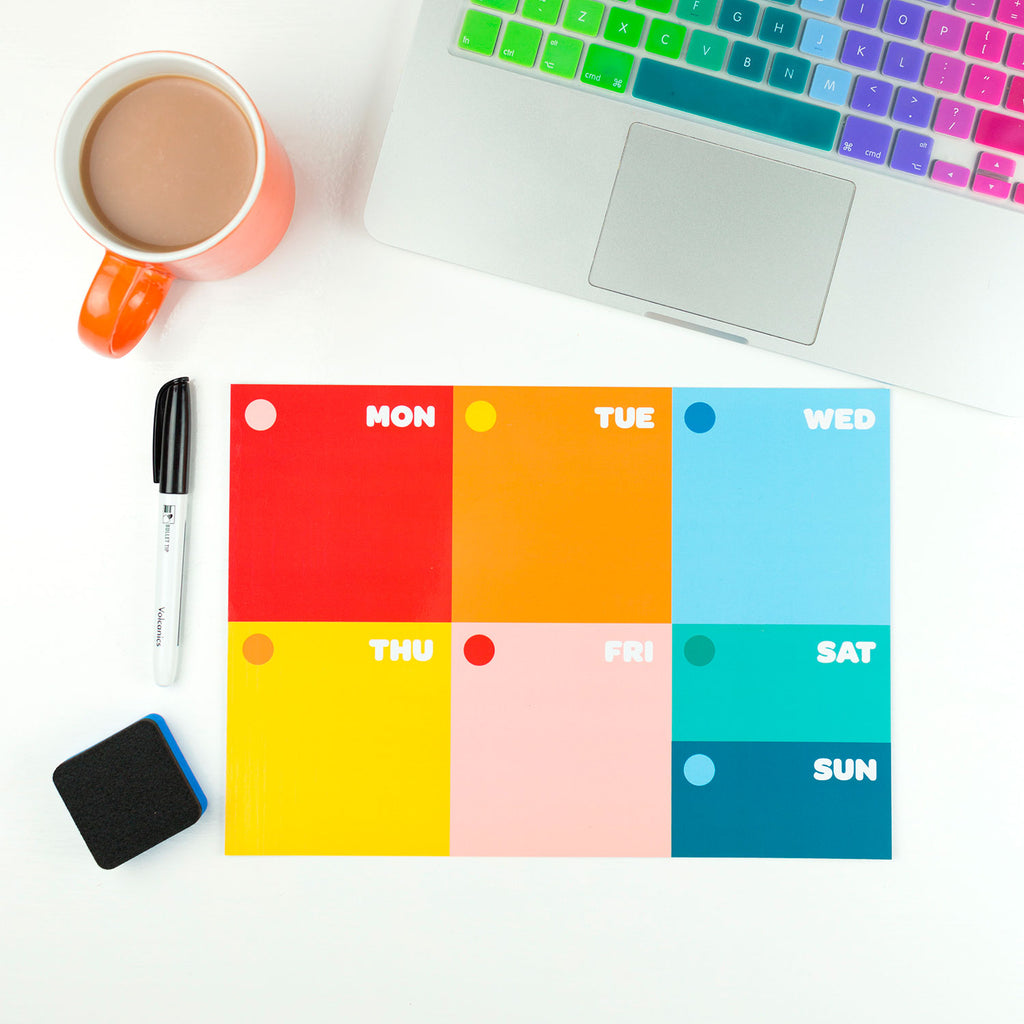 Colourful Weekly Planner (dry-wipe) - The Happy Colour Shop