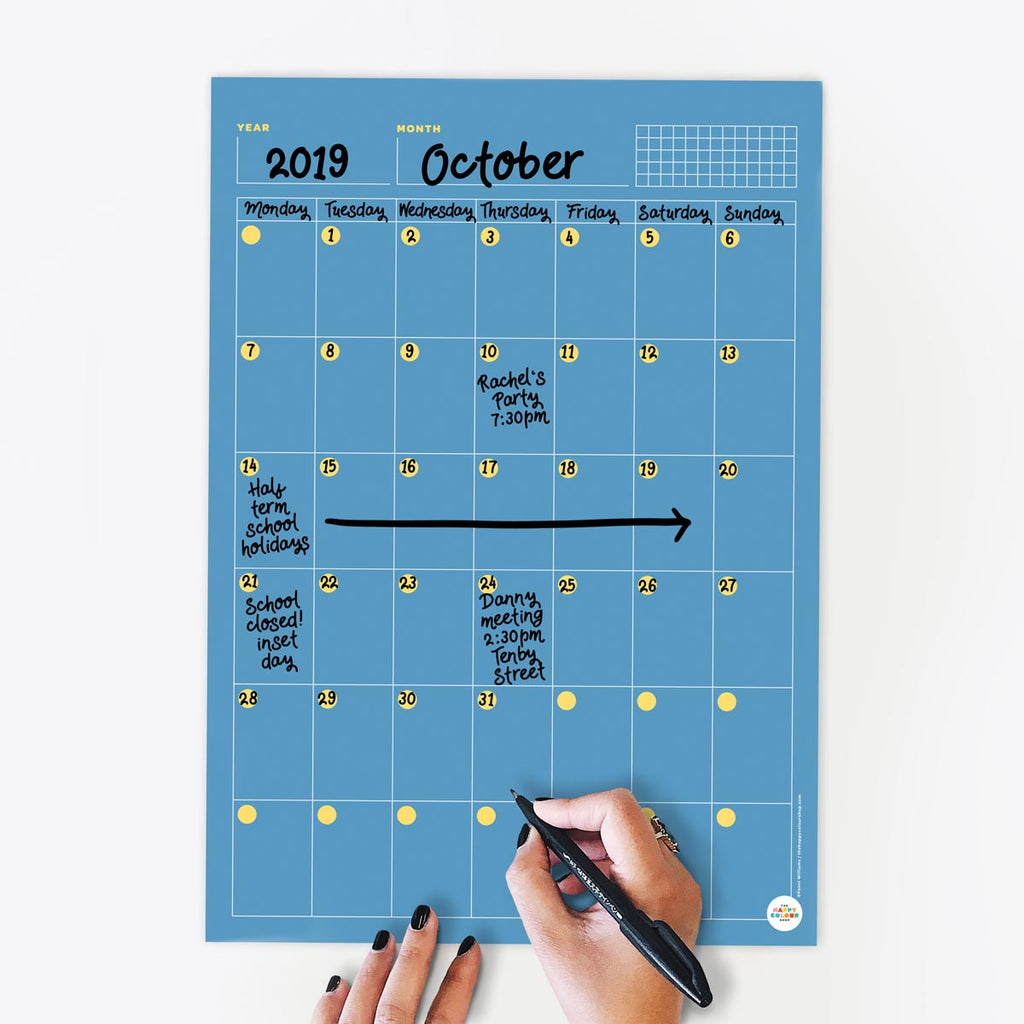 Undated Monthly Calendar - The Happy Colour Shop
