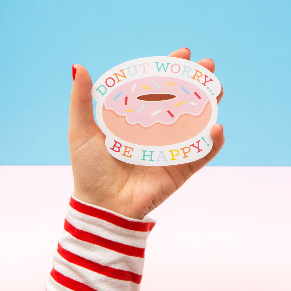 Vinyl Sticker – Donut Worry... Be Happy! - The Happy Colour Shop