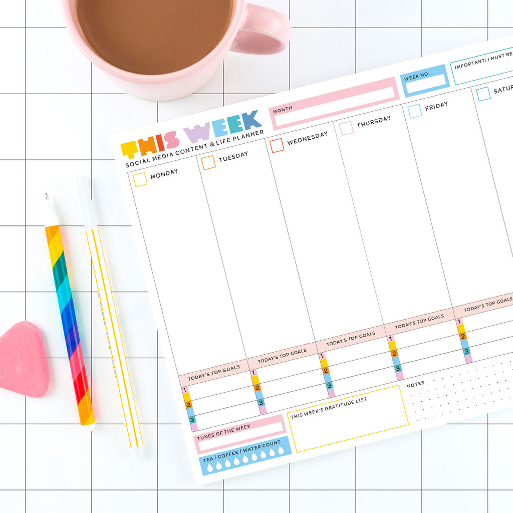 A4 Weekly Desk Planner - 52 sheets - The Happy Colour Shop
